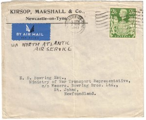 Great Britain - 1943 War Air Mail Cover to Newfoundland SG476a