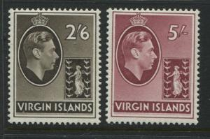 Virgin Islands KGVI 1938 2/6d and 5/ unmounted mint NH