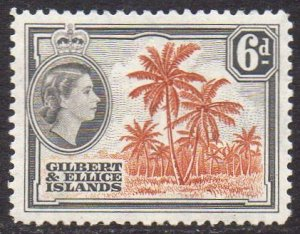 Gilbert & Ellice Islands 1956 6d Coconut palms  MH