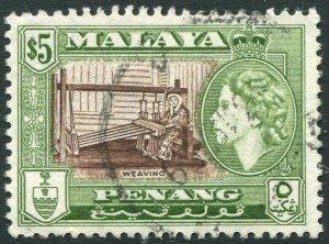 PENANG-1957 $5 Brown & Bronze-Green Sg 54 FINE USED V42825