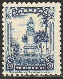 MEXICO 691, 20cents CORREGIDORA MONUMENT MINT, NH. F-VF.