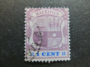 A4P43F51 Mauritius 1895-99 Wmk Crown CA 1c used