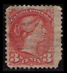 CANADA 1888 QUEEN VICTORIA VINTAGE 3c VERMILLON #41 USED SEE SCAN (V798B)