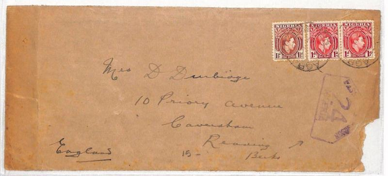 AL291 1941 Nigeria Reading Berkshire GB Cover Passed by Censor {samwells-covers}