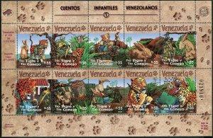 Venezuela 1571 aj,1572 sheets,MNH. Stories for Children,1997.The Rabbit & Tiger.