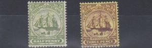 TURKS & CAICOS 1905 - 08     SG 110 + 112    VALUES TO  3D  MH