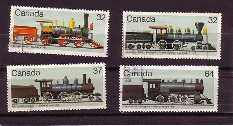 CANADA SET OF LOCOMOTIVES (4) USED STAMPS  LOT#129