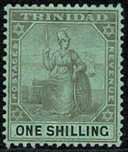 TRINIDAD KE VII 1904-07 1/- BLACK/GREEN UNUSED (MH) SG143 Wmk.MCCA VGC