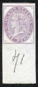 1d Lilac Postal Fiscal SGF20-22 Imprimatur Plate 71