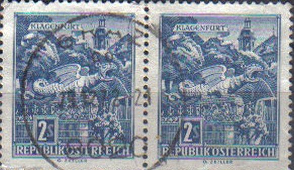AUSTRIA, 1957, used 2s Dragon Fountain, Klagenfurt