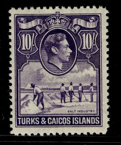 TURKS AND CAICOS ISLANDS GVI SG205, 10s bright violet, LH MINT. Cat £32.