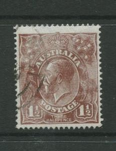 STAMP STATION PERTH: Australia  #63 Used 1919  Single 1.1/2p Stamp