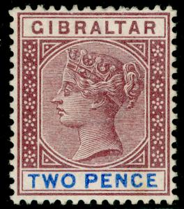 GIBRALTAR SG41, 2d brown-purple & ultramarine, UNUSED. Cat £29.
