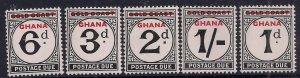 Ghana 1958 QE2 Set 5 Postage Due Gold Coast OVPT Umm SG D9 - D13 ( K1408 )