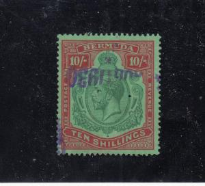 BERMUDA  # 96 VF-USED 10sh KING GEORGE V /DEEP RED & PALE GREEN / CAT VALUE $300