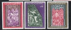 Andorra (Fr) Sc 199-201 1970  Church Frescoes  stamp set mint NH