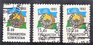 UZBEKISTAN SC# 30,31,34 1993 SEE SCAN