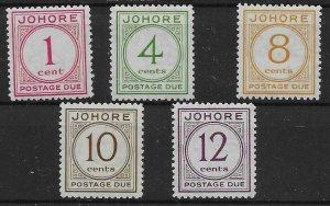 MALAYA JOHORE SGD1/5 1938 POSTAGE DUE SET MTD MINT