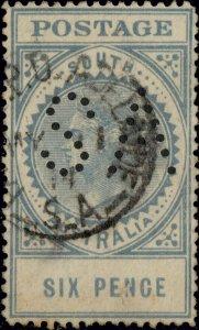 SOUTH AUSTRALIA - 1911 SG300a 6d blue-green p.12-1/2 perfin SA -vfu Adelaide cds