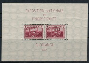 Luxembourg #B85* Souvenir Sheet  CV $4.00  1937 Stamp Exhibition