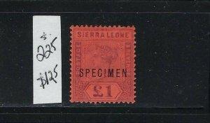 SIERRA LEONE SCOTT #46  1896-97 VICTORIA WMK 2 1 POUND (SPECIMEN)  -  MINT LH