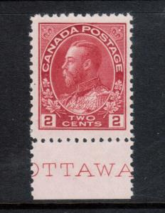 Canada #106 Very Fine+ Never Hinged Plate Inscription Variety **With Cert.**