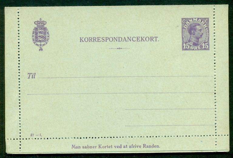 DENMARK 15ore #32I Letter card (31) unused, VF