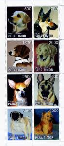 Timor (East) 1999 VARIOUS DOGS Sheet Perforated Mint (NH)