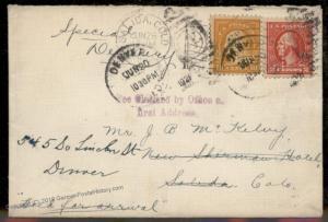 USA 1921 Colorado Salida Denver Fee Claimed Office Special Delivery Cover 88131