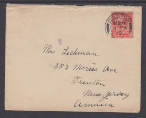 Great Britain Sc 160 perfin TH/G on 1915 cover to US