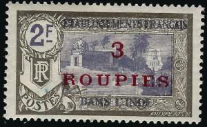French India (Scott #78) Mint F-VF hr..French Colonies are hot!