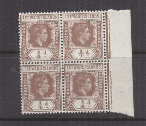 LEEWARD ISLANDS, 1938 KGVI 1/4d. Brown, marginal block of 4, mnh.