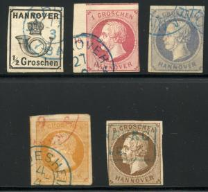 GERMANY STATES HANOVER SCOTT# 18-23 MICHEL# 14-17, 19 USED AS SHOWN