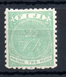 Fiji QV 1881 2d yellow green P10 mint MH #40 WS13473