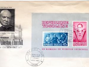 Togo 1965 Sc#C47a.SIR WINSTON CHURCHILL S/S (1)  F.D.C.