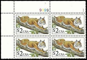 PCBstamps    US #2482 PB $8.00(4x$2.00)Bobcat, 1990, MNH, (1)