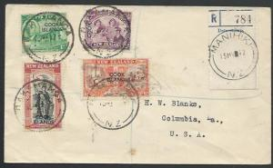 COOK IS 1947 Registered cover MANIHIKI / NZ cds of the NZ Post Office......56271
