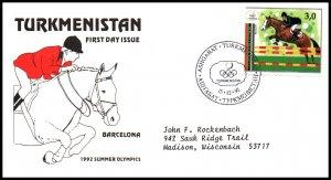 Turkmenistan 22b Horse Typed FDC