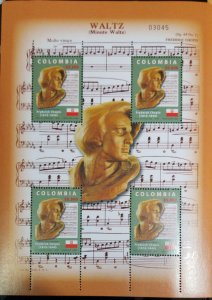 A) 2006, COLOMBIA, PIANIST, FREDERIC CHOPIN, MULTICOLORED, BLOCK OF 4