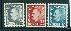 Norway Scott 311-2 and 316 MH* King Haakon stamps CV$41