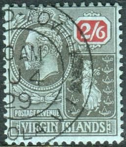 BRITISH VIRGIN ISLANDS-1928 2/6 Black & Red Blue.  A fine used example Sg 153