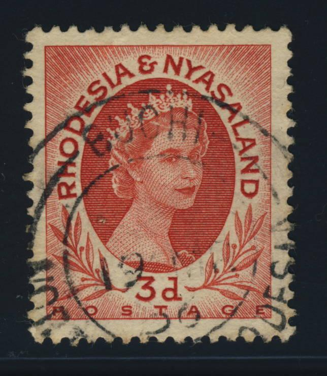 RHODESIA & NYASALAND - 1956 - SG4 CANCELLED BUCHI DOUBLE CIRCLE DATE STAMP