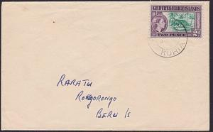 GILBERT & ELLICE IS c1955 local commercial cover KURIA to Beru Island.......6228
