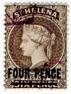 (I.B) St Helena Postal : 4d on 6d Brown OP