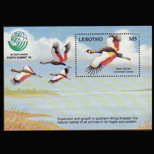 LESOTHO 1993 - Scott# 944 S/S Crowned Cranes LH