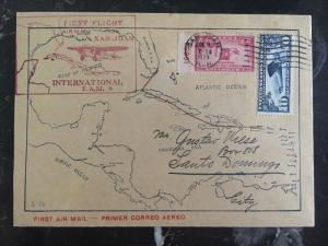 1929 Puerto Rico Usa FFC First Flight Cover FAM 6 PAA To Dominican Re Map Cachet