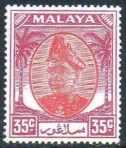 Selangor 1952 35c scarlet and purple MH