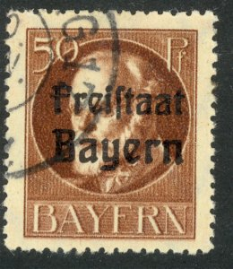 BAVARIA 1919-20 50pf FREISTAAT Overprint on Ludwig III Issue Sc 202 VFU