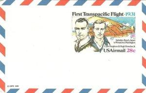 U.S. 1980 FIRST TRANSATLANTIC 50th 28c Airmail Scott #UXC19 WYSIWYG Lot