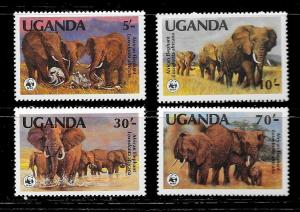 UGANDA Sc#371-374 ELEPHANTS WWF Mint Never Hinged Complete Sete Set